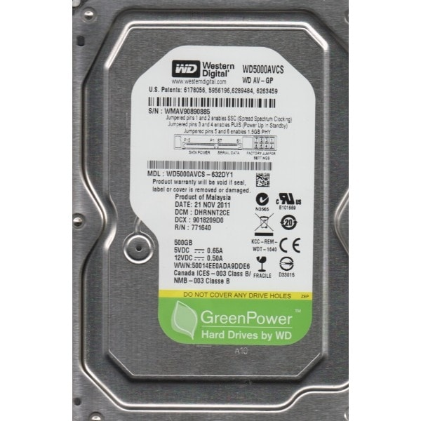 "Refurbished - Western Digital AV-GP WD5000AVCS 3.5"" Hard Drive 500GB 16MB Cache SATA 3.0Gb/s"