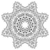 Star Mandala - Coloring Canvas - Meditation - 12x12 Gallery Wrapped Canvas B&W
