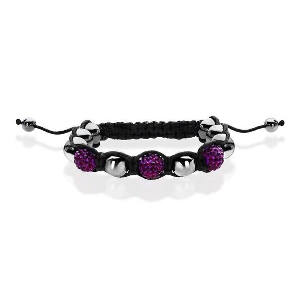 Aya Azrielant Bead Bracelet with Purple Crystal, Hematite & Starfish Charm - grey