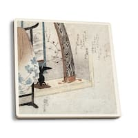 Koto and Robe Stand - Japanese Wood-Cut (Set of 4 Ceramic Coasters)