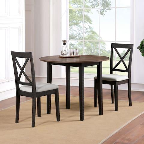 Furniture of America Bechler Transitional Oak 3-piece Round Dining Set
