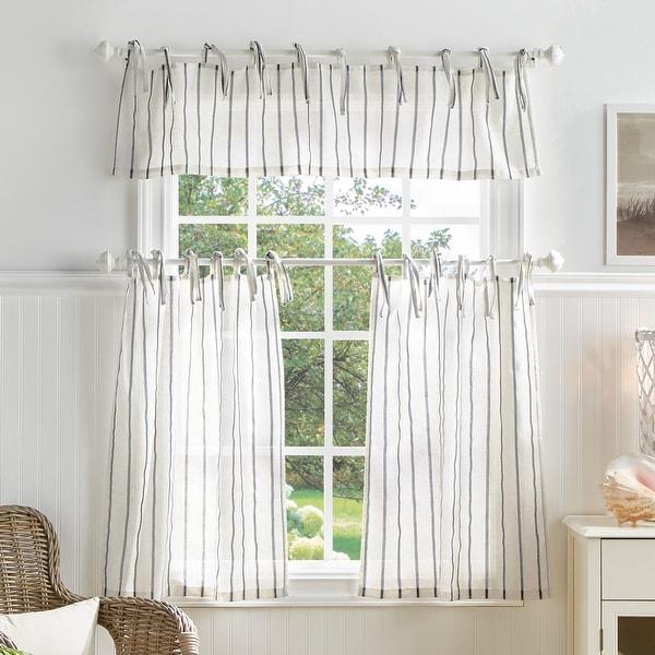 Martha Stewart Laguna Stripe 3-piece Curtain Tier and Valance Set. Opens flyout.