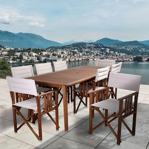 Amazonia Panama 9-Piece Outdoor Dining Set Patio Furniture Rectangular, Khaki