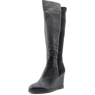 Vince Camuto Kaelen Women Round Toe Leather Black Over the Knee Boot