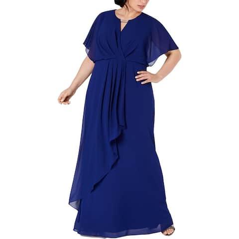 Xscape Womens Plus Formal Dress Beaded Cut Out - Blue