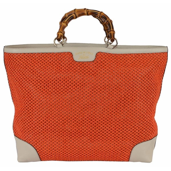 ad3ec97d61413 Gucci 338964 Large Orange Straw Leather Bamboo Handle Purse Tote Shopper