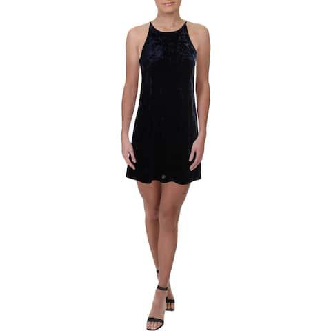 Necessary Objects Womens Party Dress Velvet Mini - Navy - M