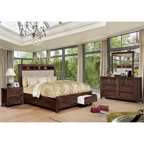4 Piece Bedroom Set with Felt-lined Top Drawers in Dark Oak