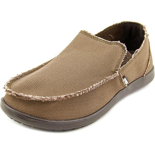 Crocs Santa Cruz Men Round Toe Canvas Brown Loafer