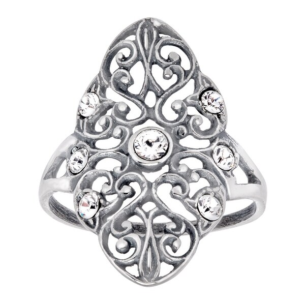 Van Kempen Victorian Ring with Swarovski Crystals in Sterling Silver - White