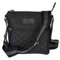 "Gucci 449183 Black Nylon MINI GG Guccissima Web Trim Crossbody Messenger Bag - 8"" x 8.5"" x 1.5"""