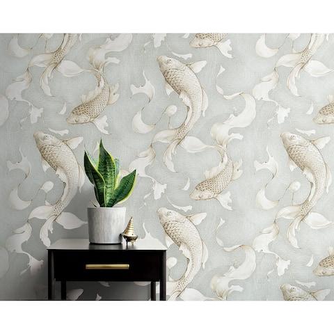 NextWall Metallic Koi Fish Peel and Stick Wallpaper - 20.5 in. W x 18 ft. L