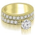 2.95 cttw. 14K Yellow Gold Antique Milgrain Round Diamond Bridal Set - Thumbnail 0