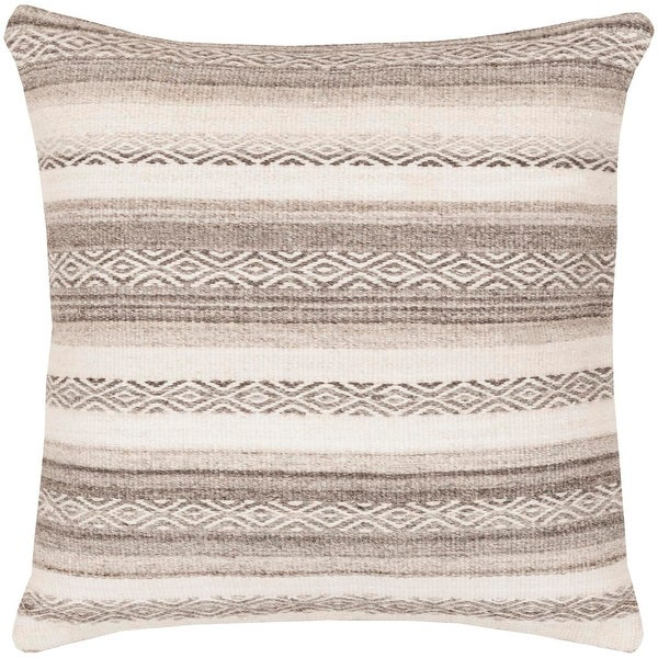 "20"" Sand Brown and Cream Geometric Striped Square Throw Pillow - Down Filler"