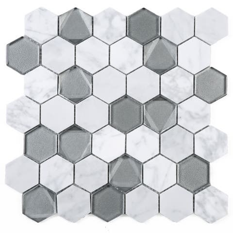 "TileGen. Hexagon 2"" x 2"" Inner Reflections Glass Stone Mosaic Tile in Beige/Silver Wall Tile (10 sheets/9.6sqft.)"