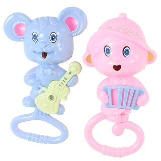 Pair Multicolor Plastic Cartoon Mice Guitar Accordion Jingle Rattling Toy