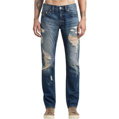True Religion Mens Pre-Ripped Slim Fit Jeans, blue, 40W x 33L