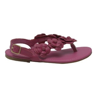 L'Amour Girls Fuchsia Flower Blossom Accent Buckle Thong Sandals 11-4 Kids
