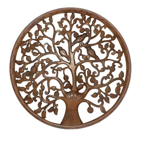 Circular Mango Wood Wall Panel with Cutout Tree and Bird Carvings, Antique Brown - 36 H x 1.6 W x 36 L Inches