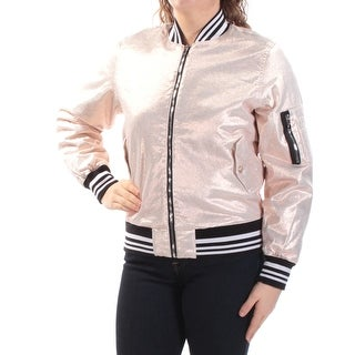 Womens Gold Black Bomber Jacket Size M