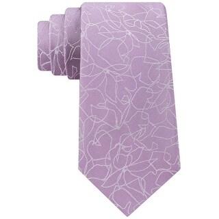 Calvin Klein Purple Men's One Size Sketch Botanic Silk Neck Tie