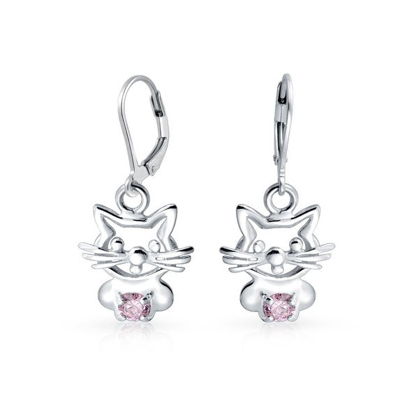 Bling Jewelry Pink Cz Kitty Cat Leverback Dangle Earrings Sterling Silver