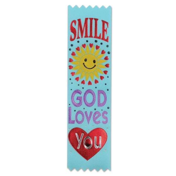 """Pack of 30 Religious Sunday School """"Smile God Loves You"""" Award Ribbons 6.25"""" - N/A"""