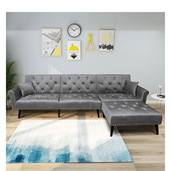 Shop Vintage Modern Adjustable Sofa Bed Set Solid Wood High ...