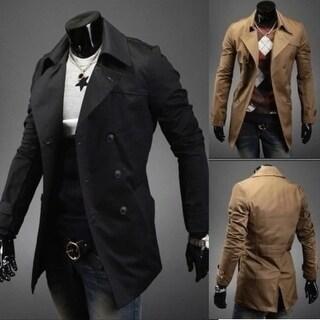 Latest Men??s Long Sleeve Turn-down Collar Tailored Coat Black&Dark Khaki M-2XL
