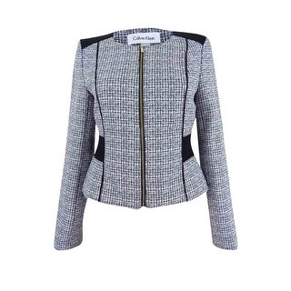 Calvin Klein Women's Petite Tweed Jacket - WHITE/BLACK