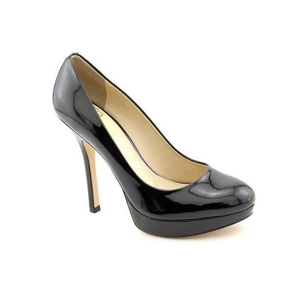 Joan & David Flipp Women Open Toe Patent Leather Black Platform Heel