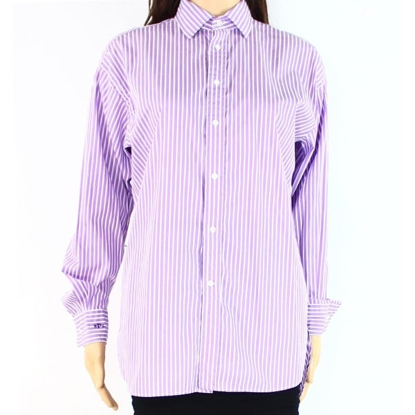 Polo Ralph Lauren NEW Purple Striped Women\u0026#x27;s Size 12 Button Down Shirt