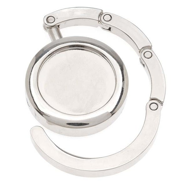 Silver Tone Compact Purse Hanger With 25.5mm (1 Inch) Bezel