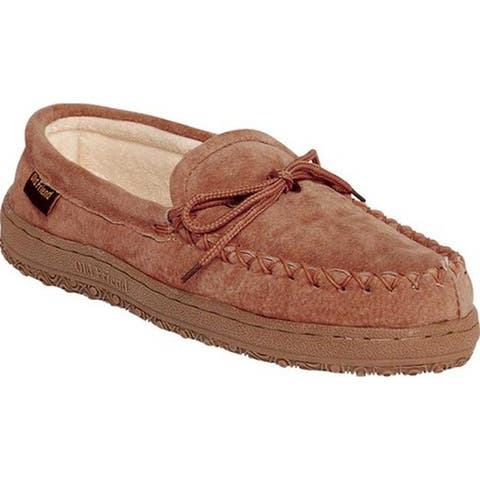 Old Friend Women's Terry Cloth Moccasin Slipper Chestnut II Suede