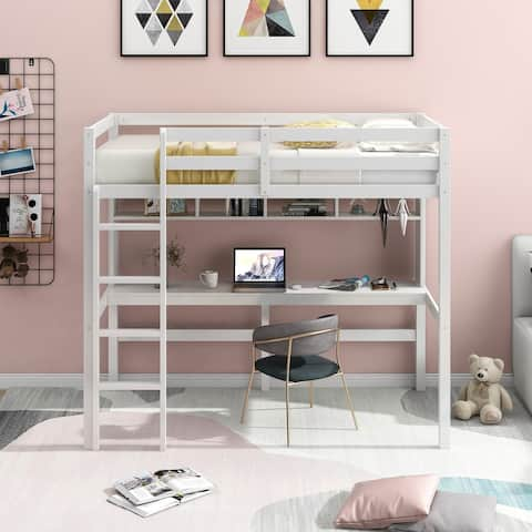 Twin Size Loft Bed with Convenient Desk, Shelves, and Ladder, White