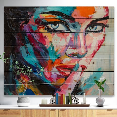 Designart 'Woman Portrait Can You Keep it' Glamour Print on Natural Pine Wood - Multi-color