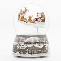 Pack of 2 Brown and Gray Christmas Decoration Santa Over Village Glitter Dome with Rotation 7""
