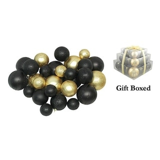 Pack of 27 Shatterproof Black & Gold Christmas Ball Ornaments - Gift Boxed