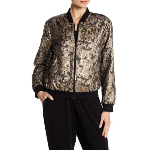 Vince Camuto Gold Foil Jacquard Bomber Jacket, Gold, Small