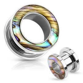 Mother of Pearl Rimmed 316L Surgical Steel Screw Fit Tunnel (Sold Individually)