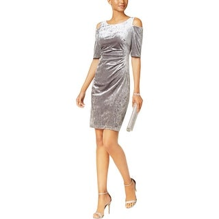 Connected Apparel Womens Petites Cocktail Dress Velour Ruched Side