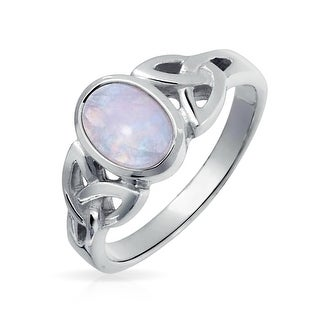 Bling Jewelry 925 Silver Celtic Triquetra Moonstone Knot Ring