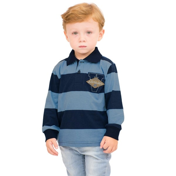 Pulla Bulla Toddler Boy Long Sleeve Striped Polo Shirt