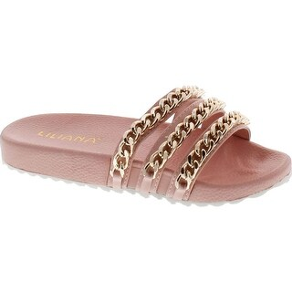 Liliana Nomi-2 Women Flip Flop Gold Chain Link Slide Slip On Flat Sandal Shoe Slipper Pink