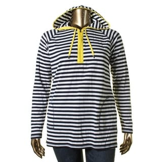 L-RL Lauren Active Womens 1/4 Zip Pullover Modal Blend Striped - XL