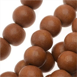 Pukalet Wood Beads, Dyed Smooth Round 8mm, 50 Pieces, Bayong Brown Lacquer