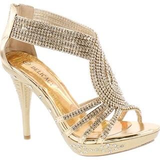 Delicacy 07 Womens Rhinestone Event Dress Sandals Gold
