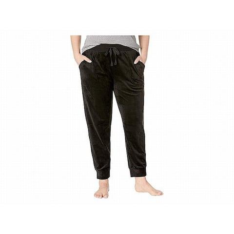 Donna Karan Womens Sleepwear Black Size 2X Plus Lounge Pants Velour