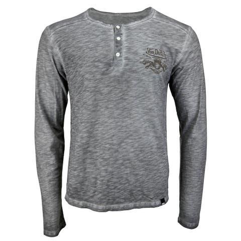 Von Dutch Henley Slub Tee Mens Top Casual T-Shirt Long Sleeve - Grey