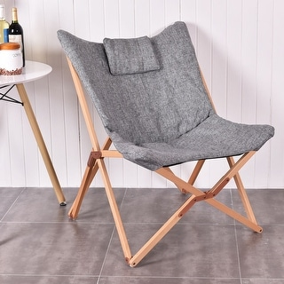 Costway Folding Butterfly Chair Seat Wood Frame Home Office Furniture Portable Gray